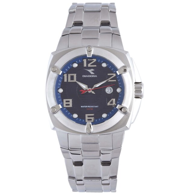 Diadora Men's Blue Dial Stainless Steel Date Watch