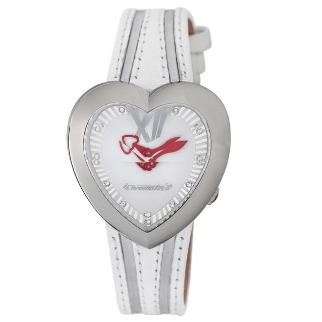 Chronotech Kids' Heart Shaped White Dial Leather Quartz W...