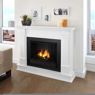 Real Flame Silverton Black/White Wood and Steel Ventless Gel Fireplace
