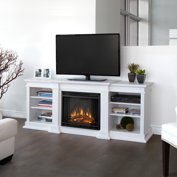 Real Flame Fresno White Entertainment Center Electric 71.73 Inch Fireplace