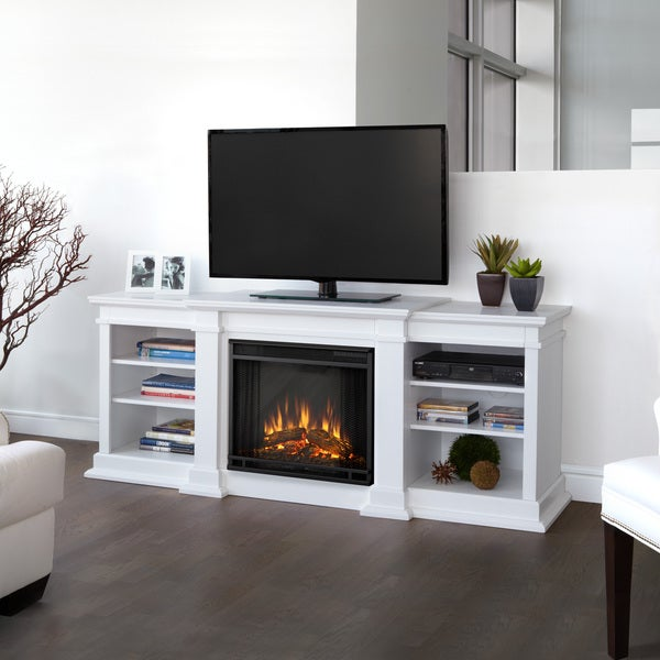 Shop Real Flame Fresno White 71.73 inch Entertainment Center with