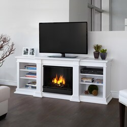 Real Flame Fresno White 71.73 in. L x 18.98 in. D x 29.88 in. H Entertainment Center Gel Fuel Fireplace