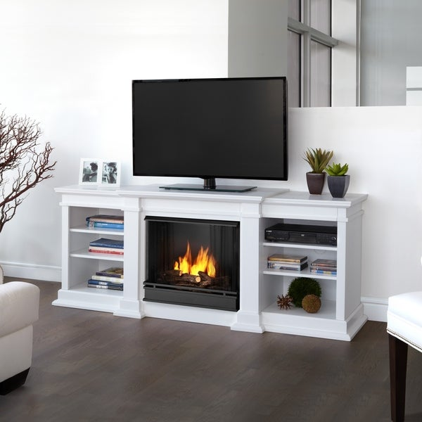 Fresno Entertainment Center Gel Fuel White Fireplace by Real Flame