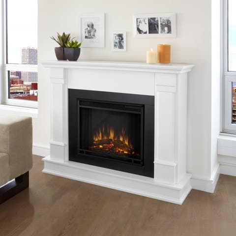 Silverton Electric Fireplace White by Real Flame - 48Lx13Wx41H