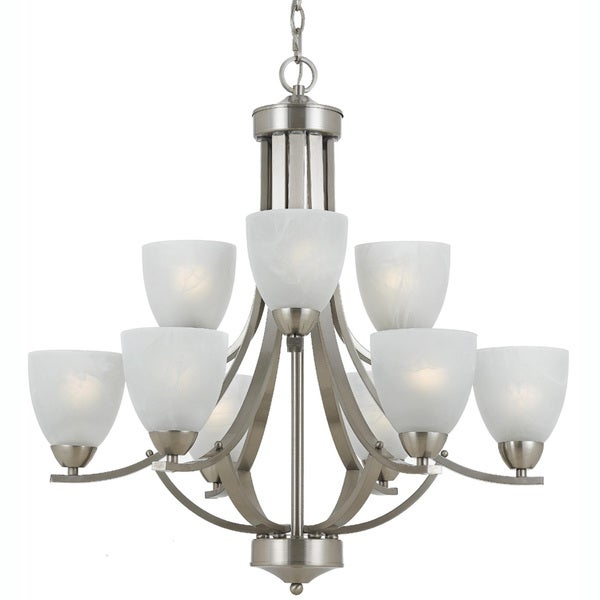 Transitional 9 light Chandelier in Satin Nickel