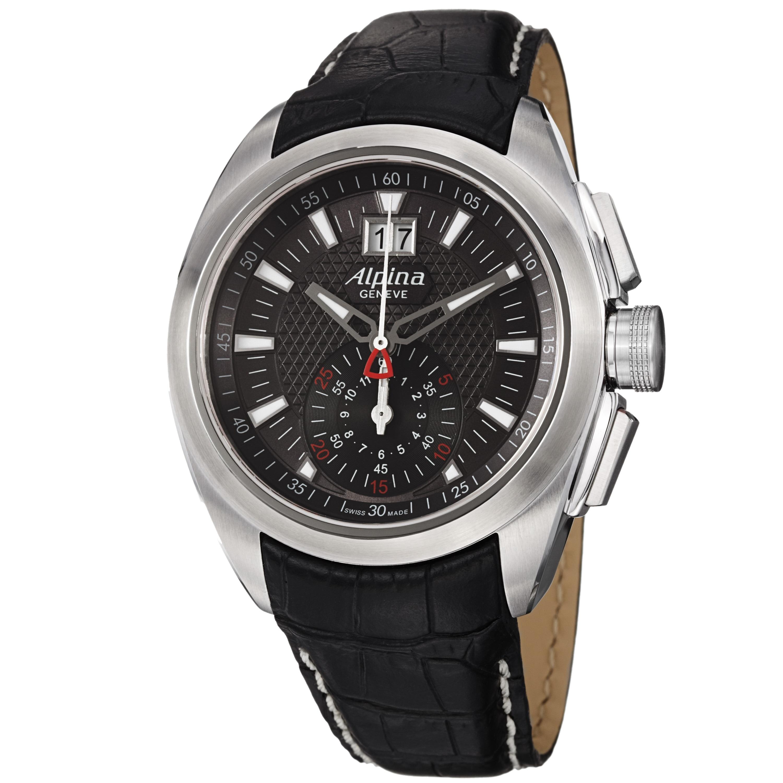 Alpina Men's AL-353B4RC6 'Club' Grey Dial Black Leather Strap Quartz Watch