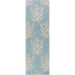 Hand-tufted Bacelot Bay Blue Beach Inspired Wool Rug (2'6 x 8')