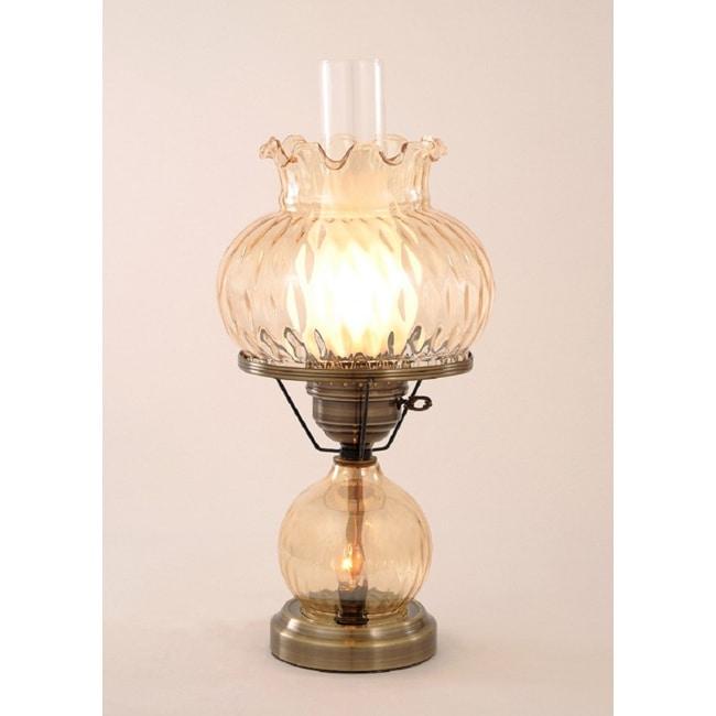 hurricane with rhombus optic amber glass lamp free. Black Bedroom Furniture Sets. Home Design Ideas