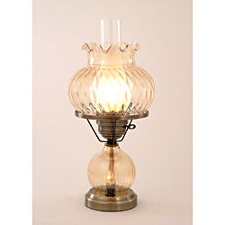Hurricane With Rhombus Optic Amber Glass Lamp
