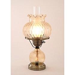 Hurricane With Rhombus Optic Amber Glass Lamp