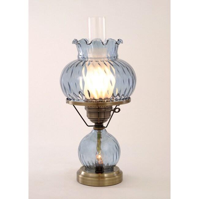Hurricane with Rhombus Optic Blue Glass Lamp