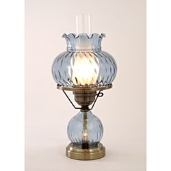 Hurricane with Rhombus Optic Blue Glass Lamp