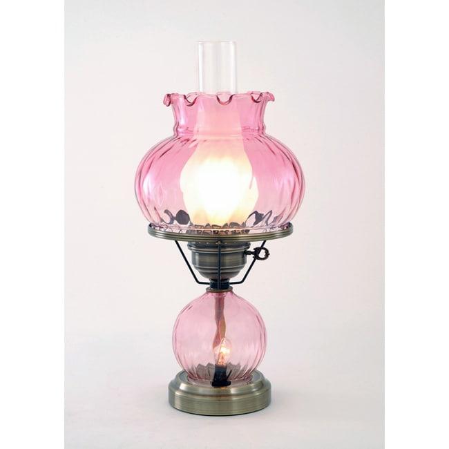 Hurricane With Rhombus Optic Pink Glass Lamp