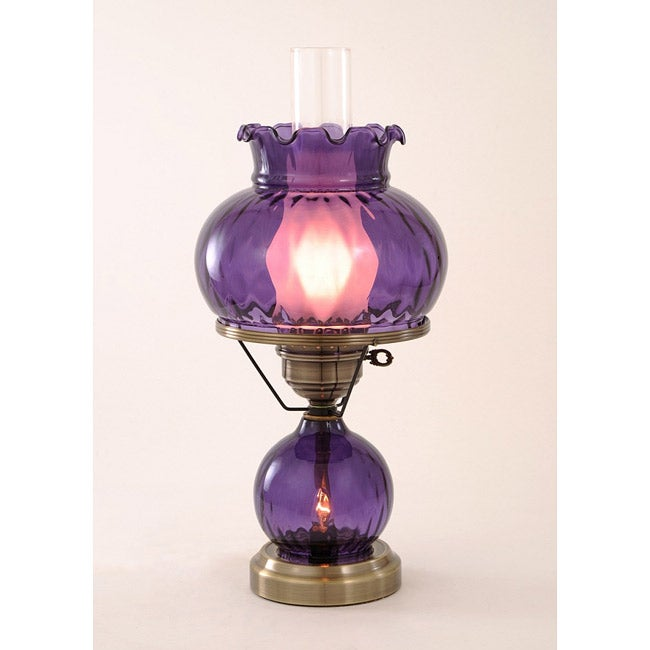 Hurricane With Rhombus Optic Purple Glass Lamp