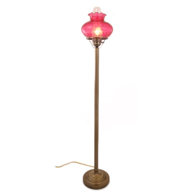Hurricane Floor Lamp With Rhombus Cranberry Glass