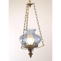 Hurricane Swag Rhombus Blue Glass Ceiling Lamp