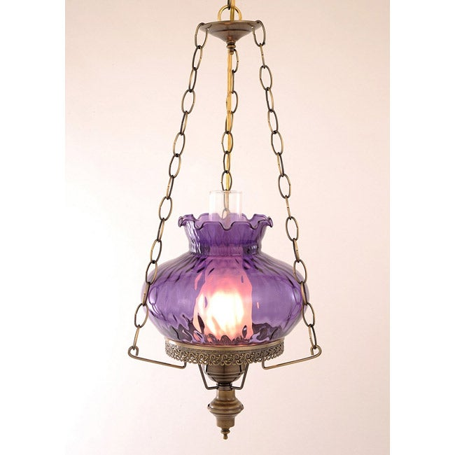Hurricane Swag Rhombus Purple Glass Ceiling Lamp