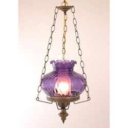 Hurricane Swag Rhombus Purple Glass Ceiling Lamp - Thumbnail 0