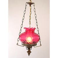 Hurricane Swag Rhombus Cranberry Glass Ceiling Lamp