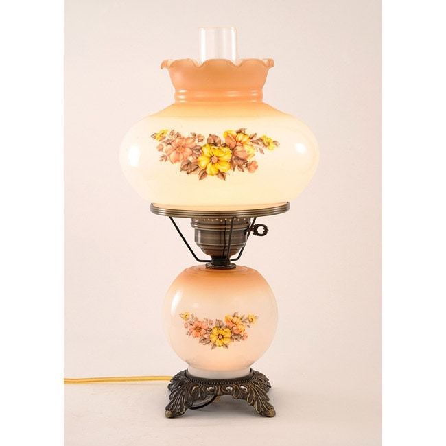 Floral Hurricane Antique Brass Finish Table Lamp
