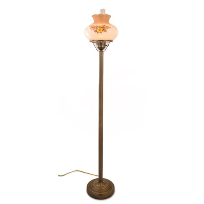 Floral Hurricane Floor Lamp With Antique Brass Finish