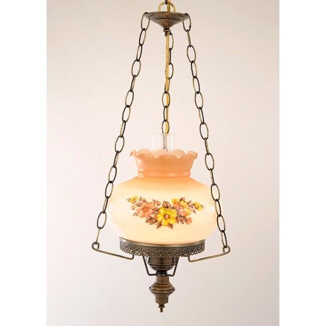 Floral Hurricane 13-Watt Antique Brass-Finish Swag Lamp