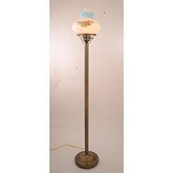 Floral Hurricane 13-Watt Antique Brass-Finish Floor Lamp - Thumbnail 0