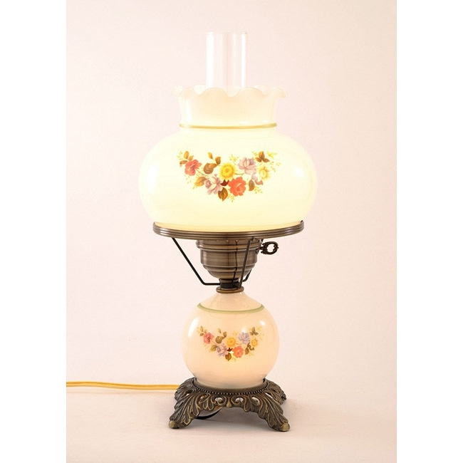 Floral Hurricane Antique Brass Finish Table Lamp with ...
