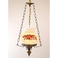 Floral Hurricane Antique Brass Finish Swag Lamp