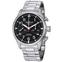 Alpina Men's  'Aviation' Black Dial Stainless Steel Chronograph Watch