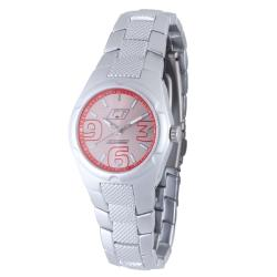 Chronotech Women's Aluminum Faded Red Dial Quartz Watch