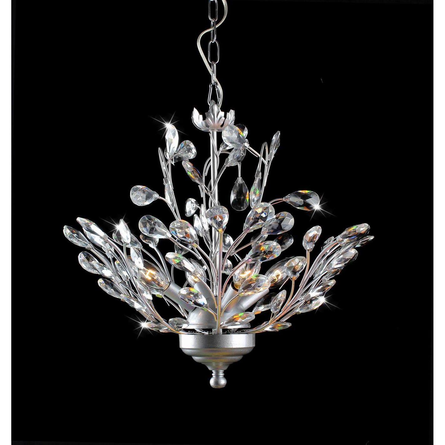 Holly 4-light Silver and Crystal Leaves Chandelier - Thumbnail 0
