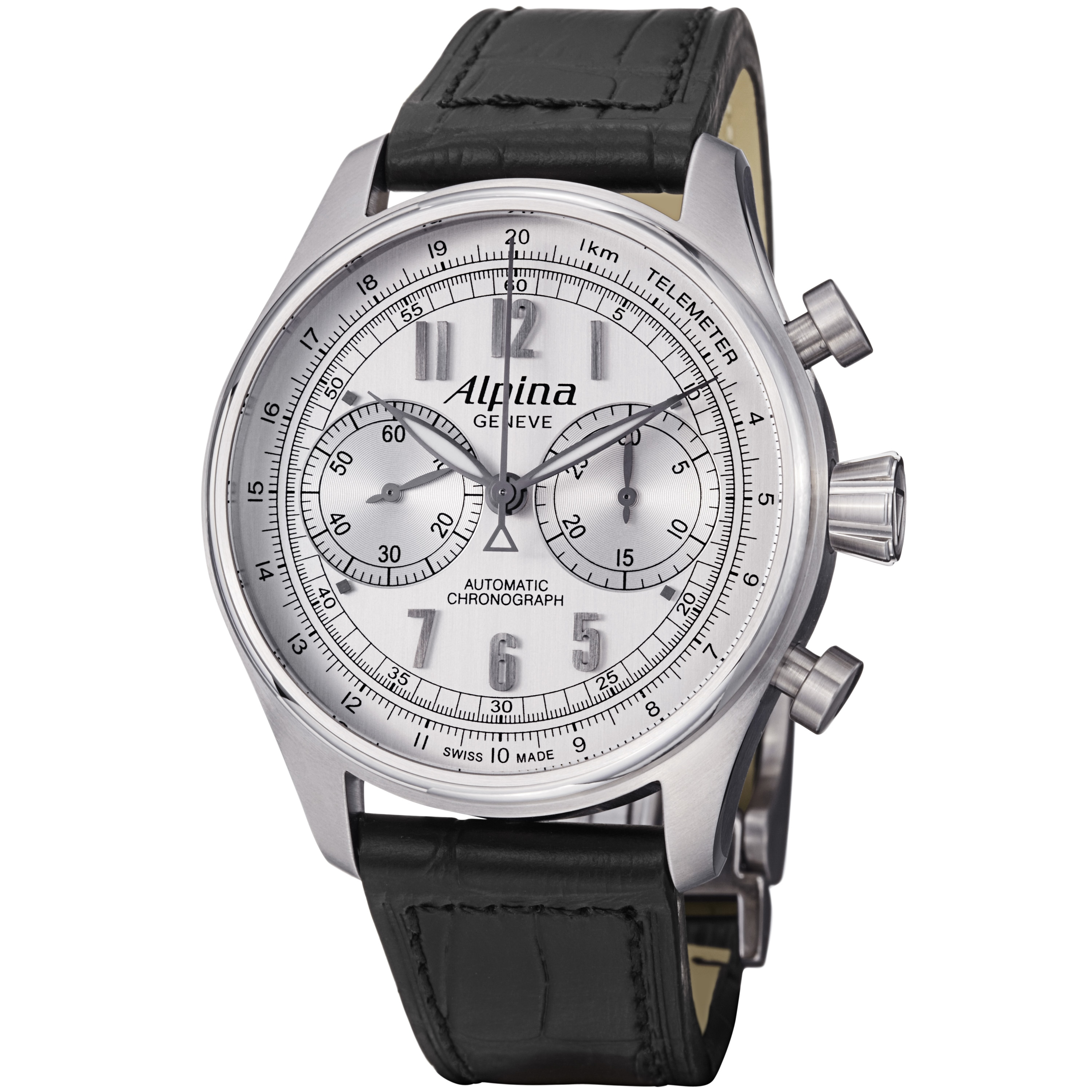 Shop Alpina Mens ALSCPS Aviation Silver Dial Chronograph - Alpina automatic watch