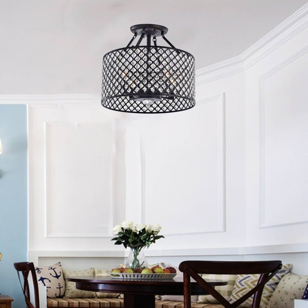 Antique Black 4-light Round Crystal Ceiling Chandelier