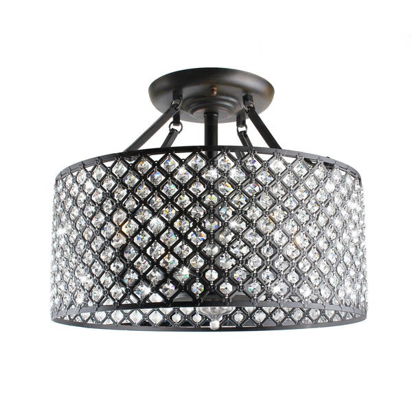 Black Chandelier Fan: Antique Black 4-light Round Crystal Ceiling Chandelier