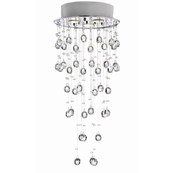 Floating Crystal Bubble and Chrome Compact Flush Mount Chandelier