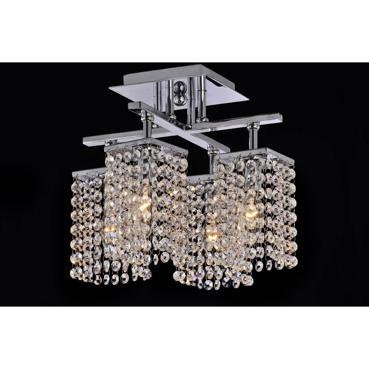 4-light Chrome and Crystal Ceiling Chandelier