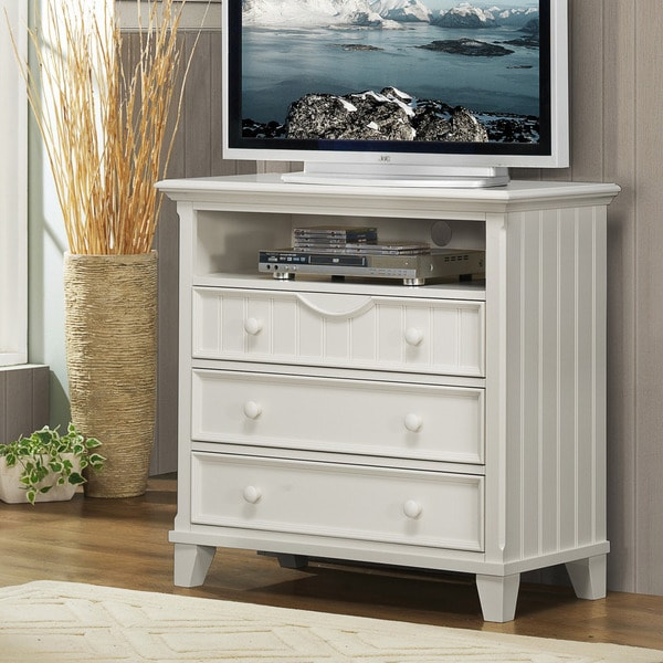 TRIBECCA HOME Alderson Cottage White Beadboard 3-drawer TV Storage Chest