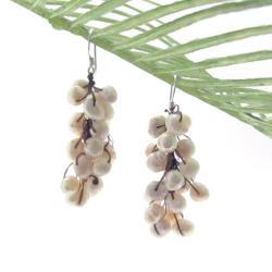 Handmade White Grapes Freshwater Pearl Cluster Earrings (Thailand)