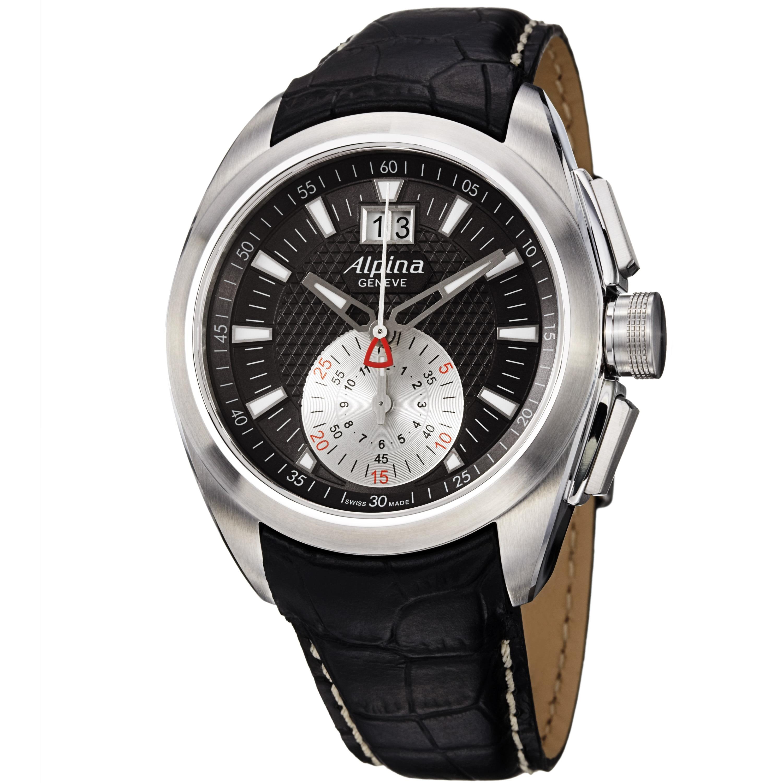 Alpina Men's AL-353BS4RC6 'Club' Grey Dial Black Leather Strap Chronograph Watch