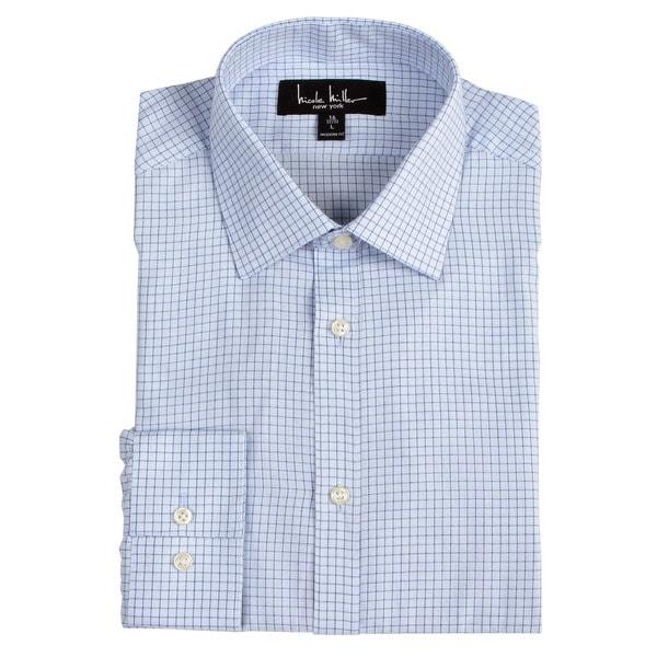 nicole miller men 39 s blue check dress shirt free shipping