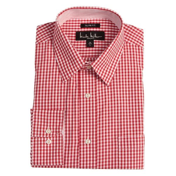Nicole Miller Men's Red Check Dress Shirt