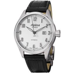 Alpina Men's 'Aviation' Silver Dial Black Leather Strap Watch