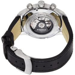 Alpina Men's 'Aviation' Black Dial Leather Strap Chronograph Watch - Thumbnail 1
