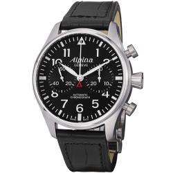 Alpina Men's 'Aviation' Black Dial Leather Strap Chronograph Watch