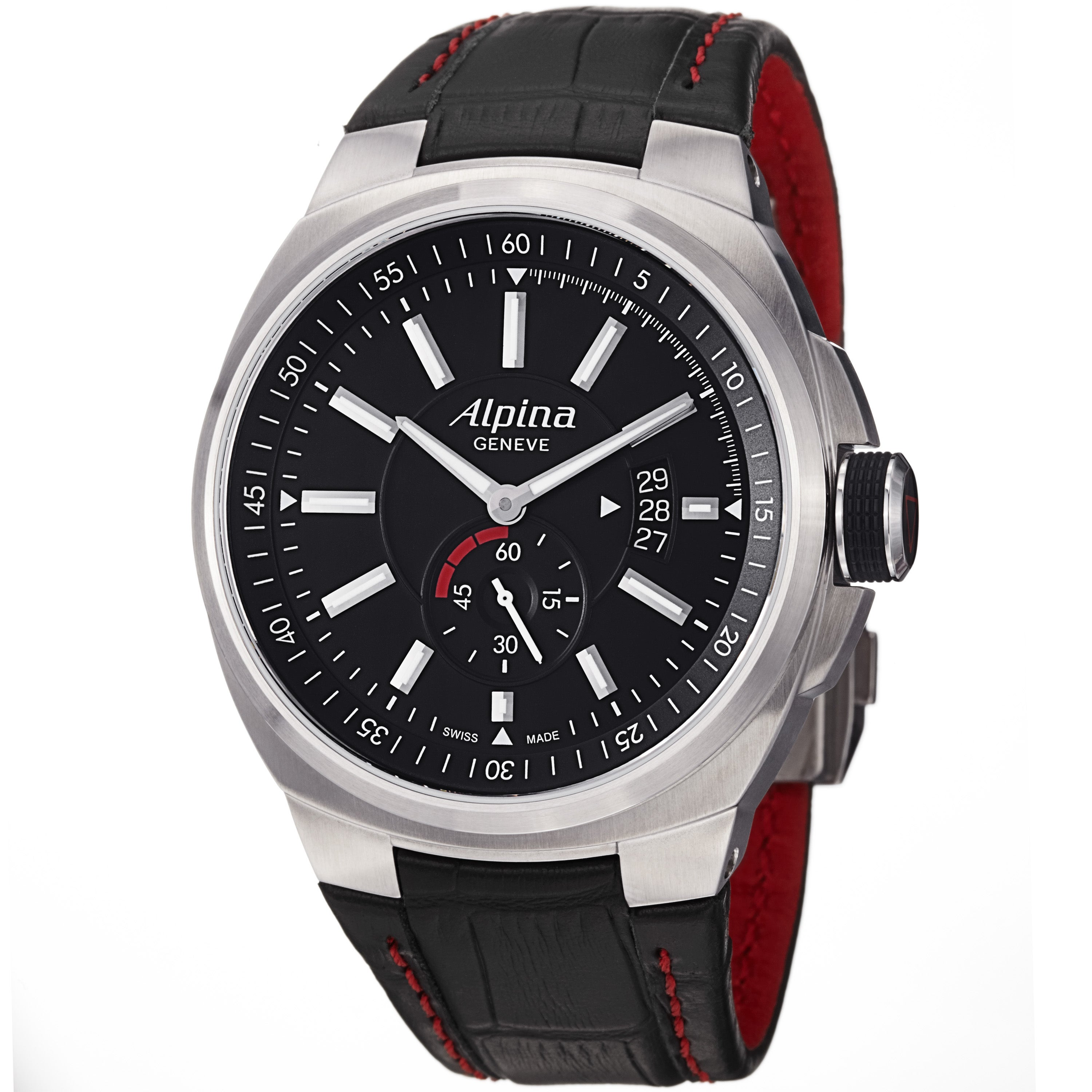 Alpina Men's 'Racing' Black Dial Black Leather Strap Automatic Watch