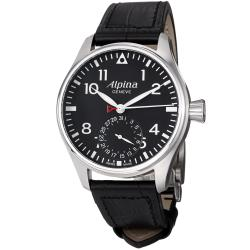 Alpina Men's 'Aviation' Black Dial Black Leather Strap Automatic Watch