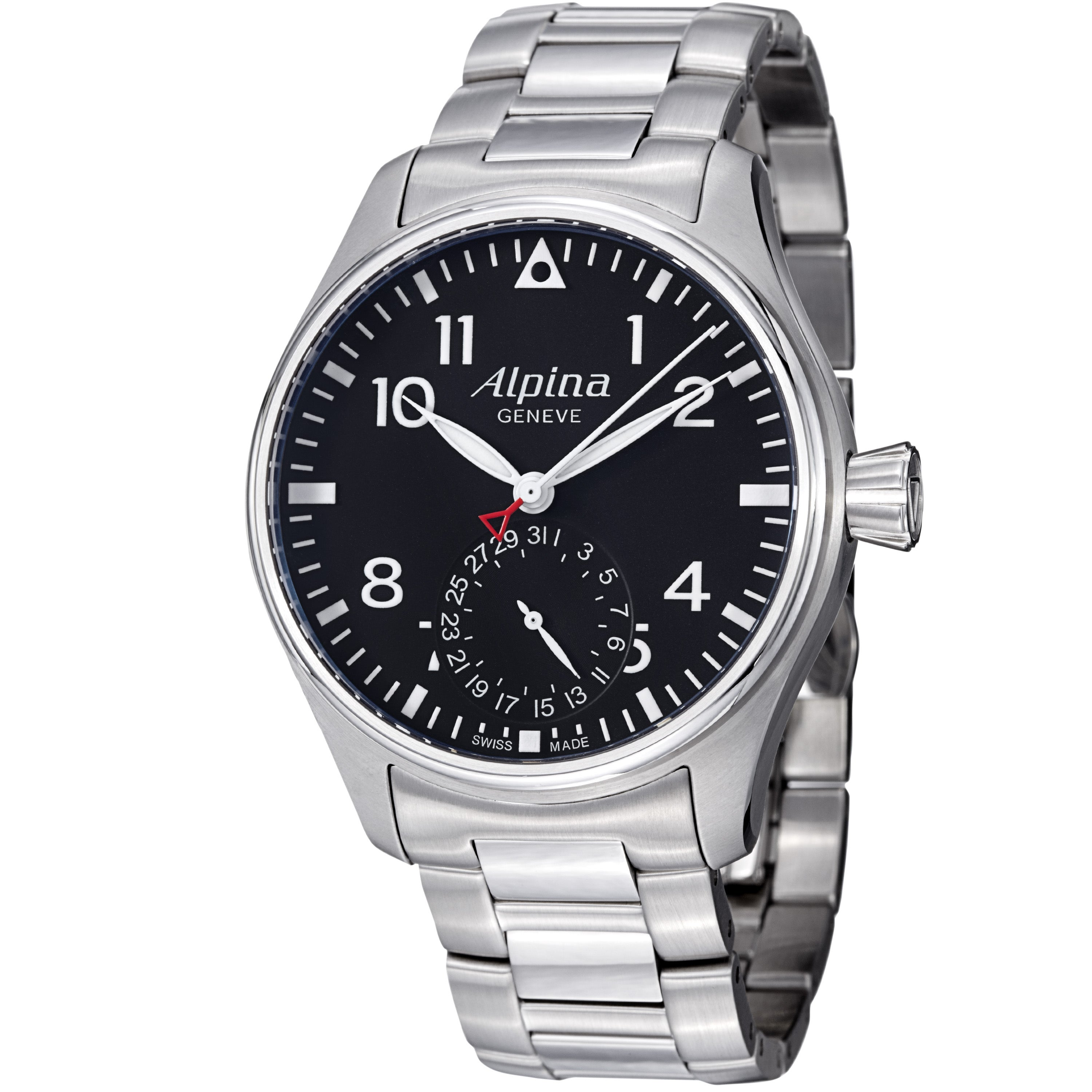 Alpina Men's AL-710B4S6B 'Aviation' Black Dial Stainless Steel Automatic Watch