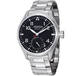 Alpina Men's 'Aviation' Black Dial Stainless Steel Automatic Watch