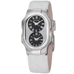 Philip Stein Women's 'Signature' Black Dial White Strap Quartz Watch